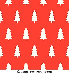 Red Christmas pattern with Christmas trees vector