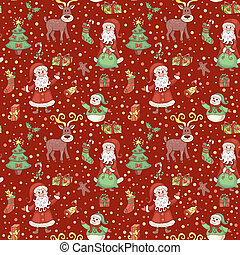 Red christmas pattern with confetti