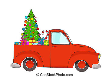 Red Christmas pick up truck with gifts