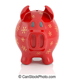 red christmas piggy bank