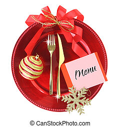 Red Christmas plate isolated on white background