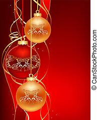red christmas postcard - beautifull red christmas ball...