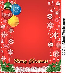 Red christmas postcard with balls a
