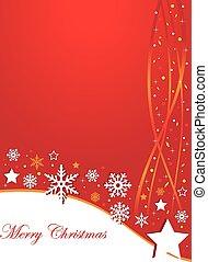 Red christmas postcard with snowfla