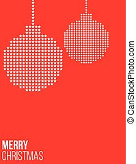 Red Christmas poster with balls