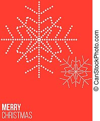 Red Christmas poster with snowflake