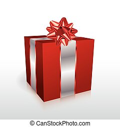 Red Christmas Present with Bow Illustration