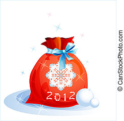 red Christmas sack with blue ribbon