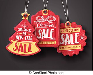 Red Christmas sale paper tags vector set with different shapes