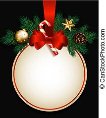 Red Christmas sale sign with fir branches, satin bow, candy cane