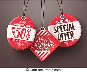 Red christmas sale tags vector set hanging with different sale and discount text