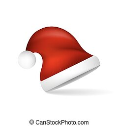 Red Christmas Santa Claus hat. Vector illustration.