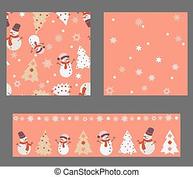 Red Christmas Set with 3 Seamless Patterns