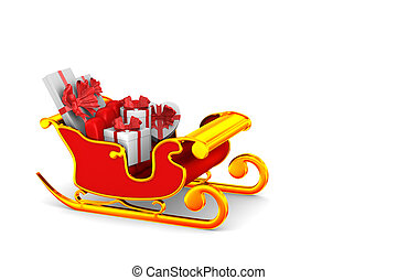 red christmas sled with gift boxes  on white background. Isolated 3D illustration