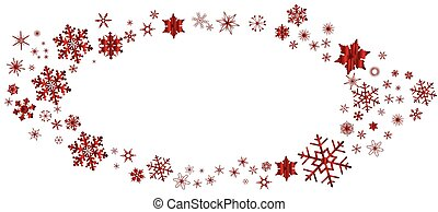 Red Christmas Snowflake Oval Border