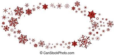 Red Christmas Snowflake Oval Border