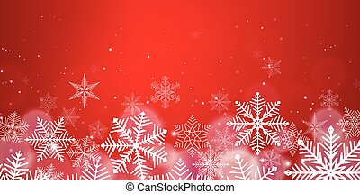 Red Christmas snowflakes background with light effect. Vector illustration