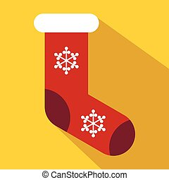 Red Christmas sock icon, flat style