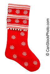 Red christmas sock with snowflakes for gifts. Holidays symbol