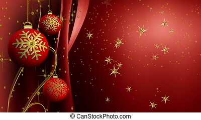 Red Christmas sparkling bulbs and ribbons with golden...