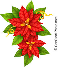 Red Christmas Star flowers poinsettia with gold ribbon isolated on white background - eps10 vector illustration