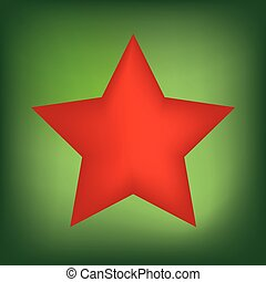 red christmas star on green background