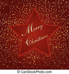 red christmas star, with small paper, illustration