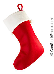 Red Christmas stocking - Christmas stocking isolated on...