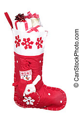 Red christmas stocking filled with presents