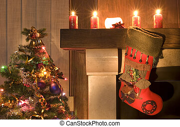 stocking - Red christmas stocking hangs above the fireplace...