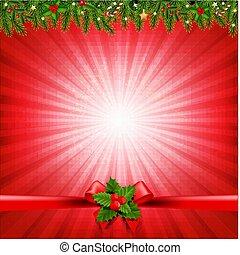Red Christmas Sunburst Poster