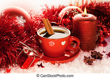 Red Christmas tea cup - Christmas cup of tea with red ...