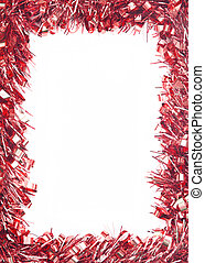 Red Christmas tinsel garland, forming a rectangular border on white background