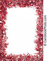 Red Christmas tinsel garland, forming a rectangular border...