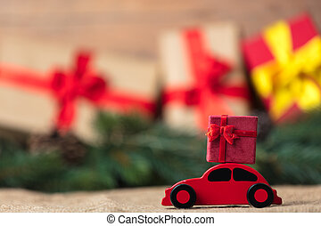 Red Christmas toy car and gift