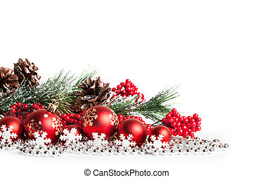 red christmas tree and balls on white