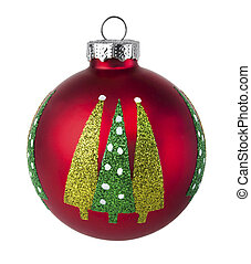Red Christmas tree Ball with glitter on a white background