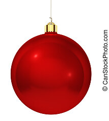 Red christmas tree decoration ball isolated on white...