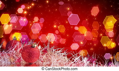 semless loop holiday background. christmas tree decoration and glitter particles