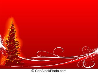 Red Christmas Tree - christmas background illustration