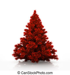 Red christmas tree isolated on white background