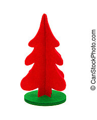 red christmas tree on a white background