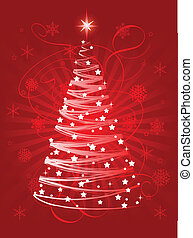 Christmas tree - Red Christmas tree on abstract background
