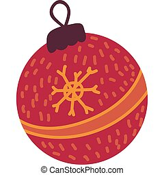 Red christmas tree toy flat vector illustration