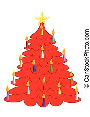 Red Christmas tree with candles