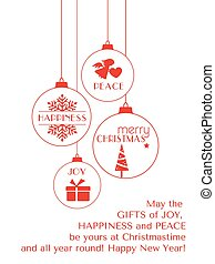 Red Christmas typography card with hanging ornaments