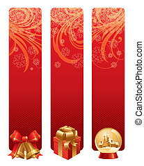 Red christmas vector banners with holidays symbols