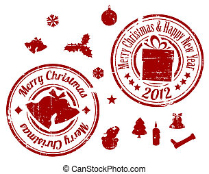 Red Christmas Vector stamps