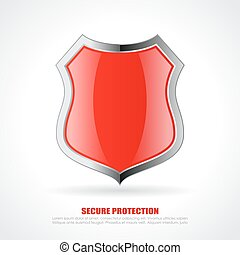 Red chrome shield icon