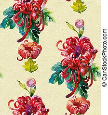 Red chrysantemum wallpaper seamless pattern from original watercolor